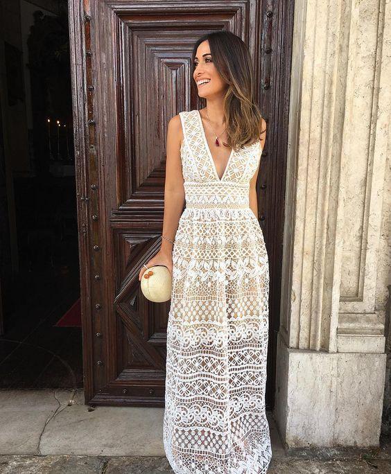 20 modelos de vestidos branco com renda para te inspirar - Primavera Verão in 2019 | Dresses, Crochet wedding dresses, Dress skirt
