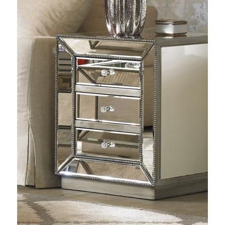 Piper Champagne Silver 3-Drawer Mirrored Accent Table