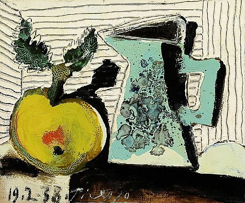 Pablo Picasso  Still Life with Apple and Blue Pitcher  1938  http://stilllifequickheart.tumblr.com/post/33457658810/pablo-picasso-still-life-with-apple-and-blue
