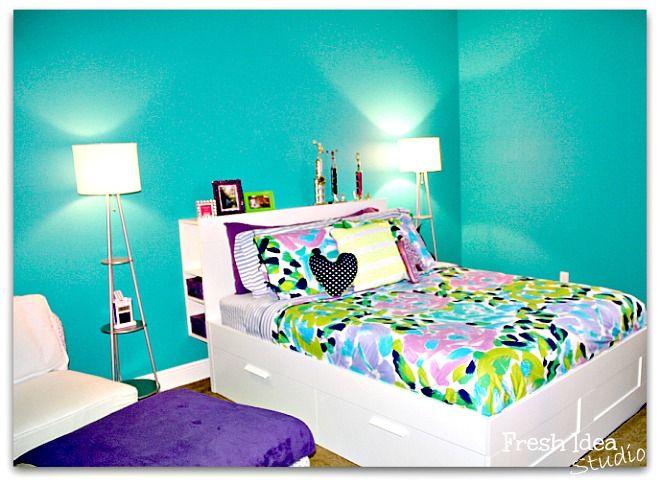 Tips for Decorating a Teen's Bedroom l Fresh Idea Studio. I adore that wall color