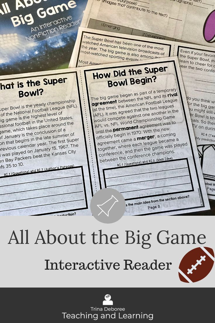 The Super Bowl Is Right Around The Corner This Big Game Football Printable For Kid Nonfiction Comprehension Teaching Homeschool Informational Texts Activities [ 1102 x 735 Pixel ]