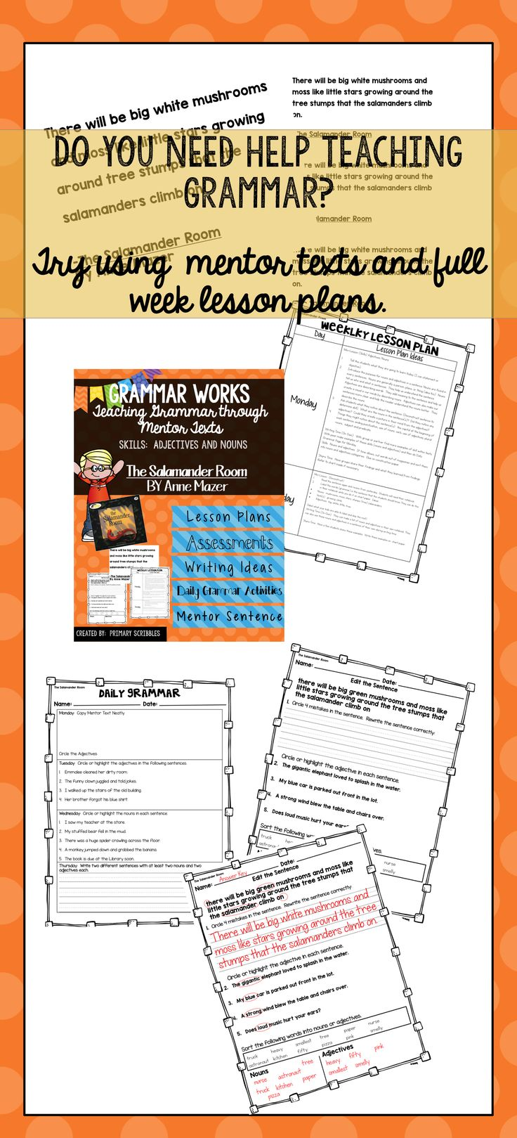 Grammar Works with Mentor Text The Salamander Room Skills Covered are nouns and adjectives.  Perfect for use with a weekly reading or guided reading book.