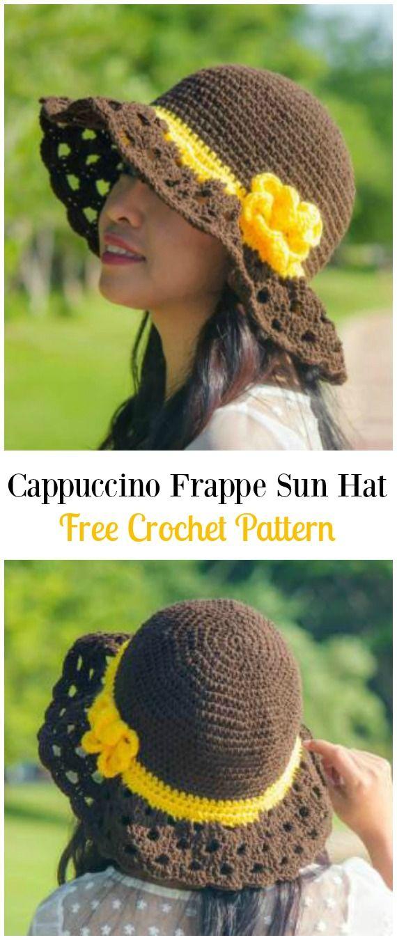 Crochet Cappuccino Frappe Wide Brim Sun Hat Free Pattern - Crochet Women Sun Hat Free Patterns