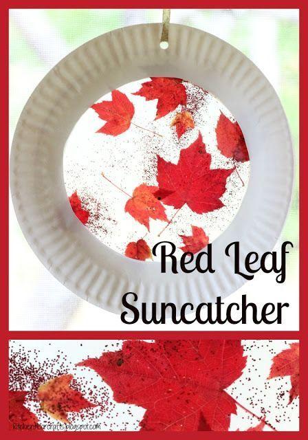 Kitchen Floor Crafts: Red Leaf Suncatcher