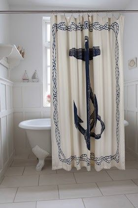 Anchor Shower Curtain in Ink design by Thomas Paul