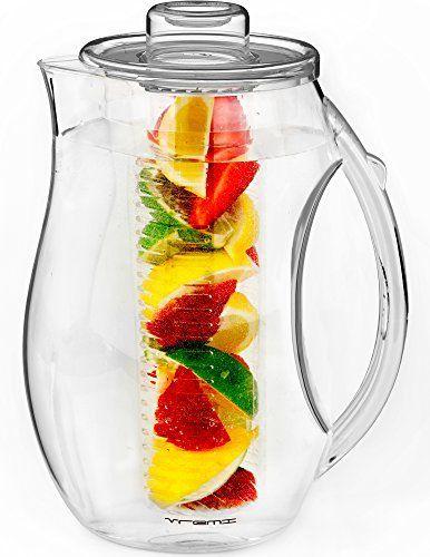 Vremi Fruit Infuser Water Pitcher – 2.5 litre Pichet en infusion de plastique avec couvercle pour le thé à laisse en vrac – Grand infuseur…