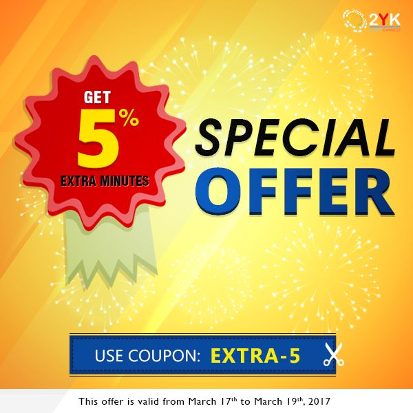 #SpecialOffer For International Calling Plans - Get 5% Extra #InternationalCalling Minutes - http://www.2yk.com/emails/2YK-Happy-weekend-17-march-2017.html  #CheapCalling #CallingCard #HowToCall