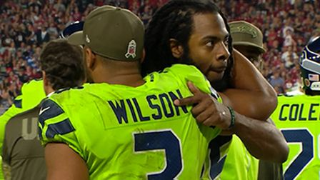 Seattle Seahawks cornerback Richard Sherman embraces quarterback Russell Wilson on sideline after going out with injury - NFL Videos