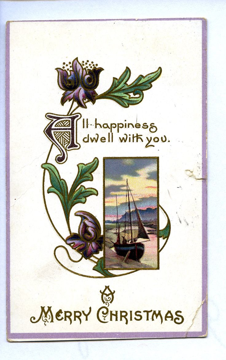 All happiness dwell with you. A Merry Christmas, c. 1915. In contrast to the popular holiday depictions of a snow-covered country home, this postcard highlights a shoreline with a sailboat. Perfect for the Eastern Shore of Maryland! @KentCoHistory