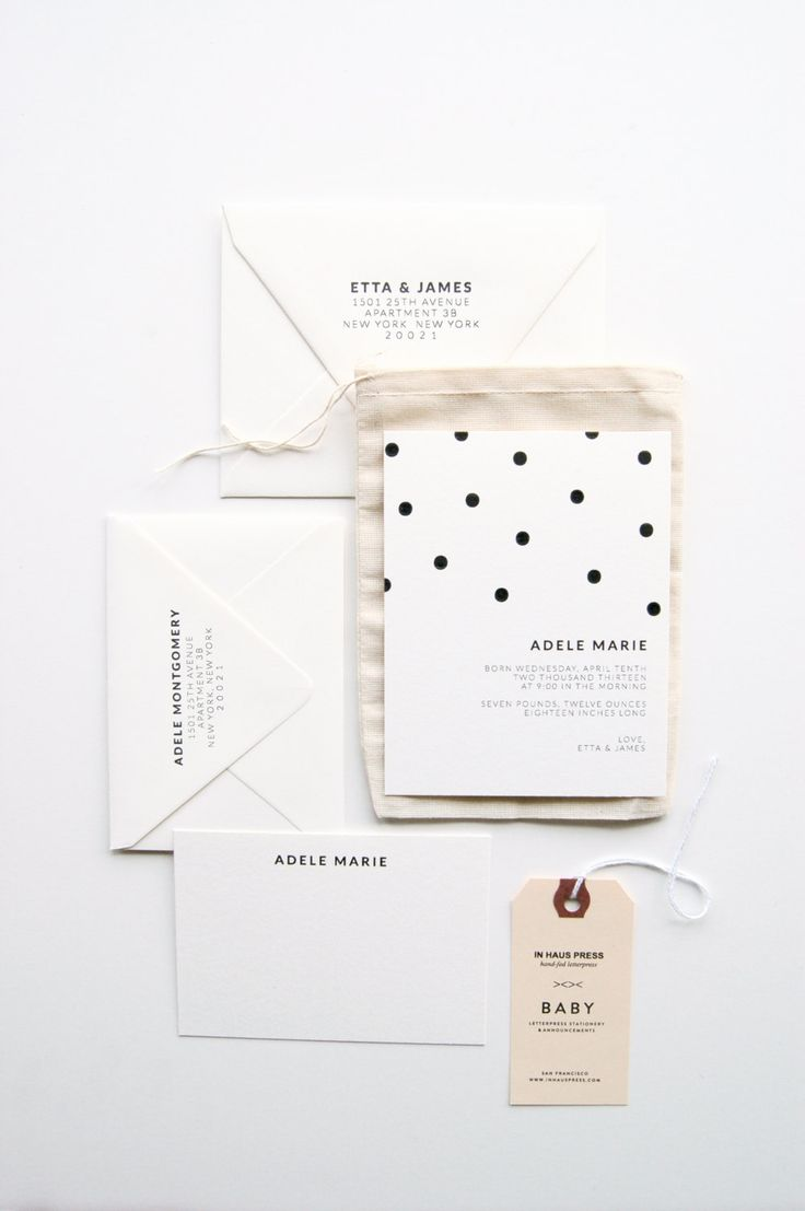 Polka-dot: Baby Announcements & Stationery Set. $350.00, via Etsy.