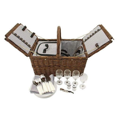 This picnic basket is ready to go. Everything you need in this adorable and charming wicker basket. I LOVE this basket.