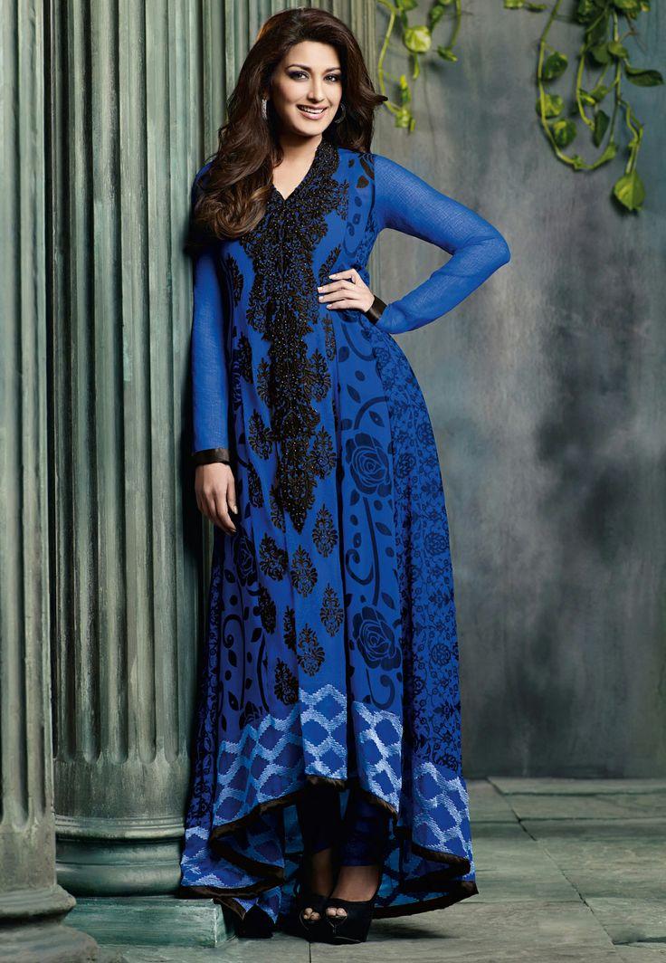 Blue Faux Georgette Anarkali Churidar Kameez @ $80.49