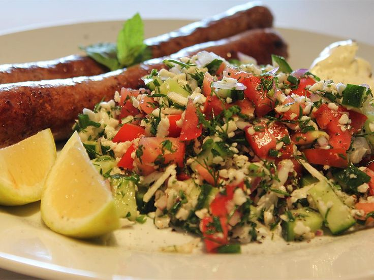 Beef+Sausages+&+Tabbouleh