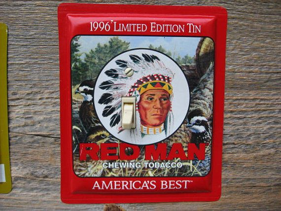 Rustic Indian Cabin Southwestern Decor Single Switch Plate From An Old Red Man Tobacco Tin Can SP-0220