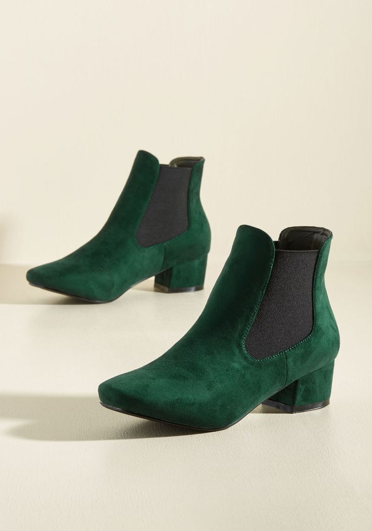 Get Up and Go-Go Bootie in Pine. When youre feeling as fab as you do in these green booties, every onlooker will want to embody your stylish enthusiasm! #green #modcloth