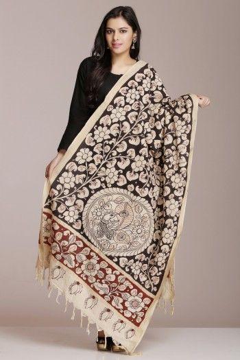 Black Cotton Dupatta With Kalamkari Floral Jaal, Peacock Motif And Subtle Striped Gold Zari Border