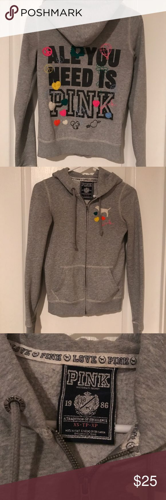 Victoria's Secret Pink Grey Zip Up Hoodie Jacket 💚💛All You Need is Love💙💜 Victoria's Secret Pink grey zip up jacket in XS. Cute simple jacket for an every day casual look. PINK Victoria's Secret Tops Sweatshirts & Hoodies