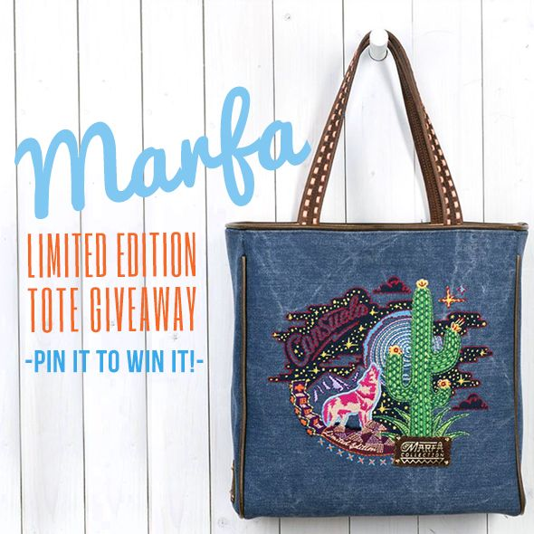 Pin this image to be qualified to win our Marfa Limited Edition Tote! We'll announce the winner Friday 10/18!