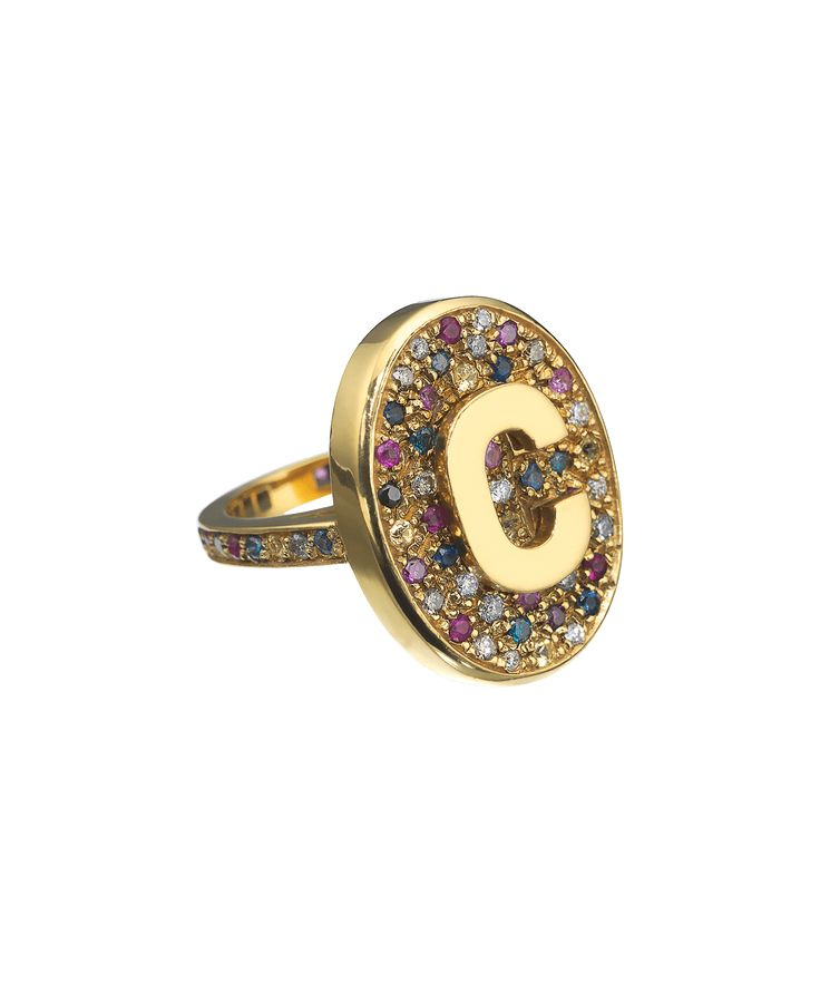 This second generation of Scarab initial rings features a table of multicolour pave stones, replacing the Labradorite stone of the original rings. Available in 18k Yellow, White, Pink or Black Gold and set combinations of precious stones. This ring is approximately 2.5cm high and is available in sizes 4 through 7 US. This ring will be made to order with the initial of your choice. Our Customer Service team will be in contact with you once your order has been placed to help you complete your…