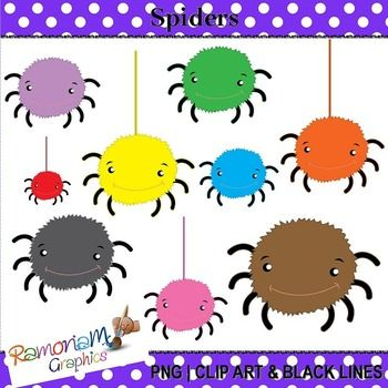 Free spiders Clipart. 20 PNG images, each is 300dpi in Black & White, colored with colored outlines and colored with black outlines