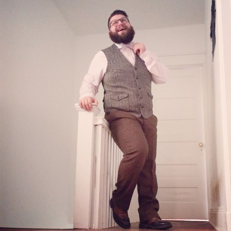 NOT THE BOW TIE. <3 the herringbone pattern on the vest and the spectator shoes. Edwardian revival in menswear.