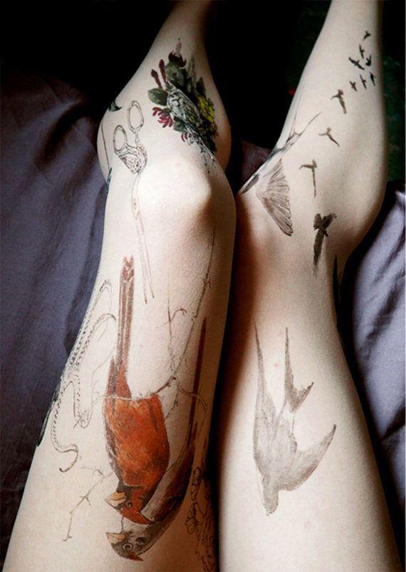 Large tattoo tattoo tights hosieryHAND by TattooTightsTATUL