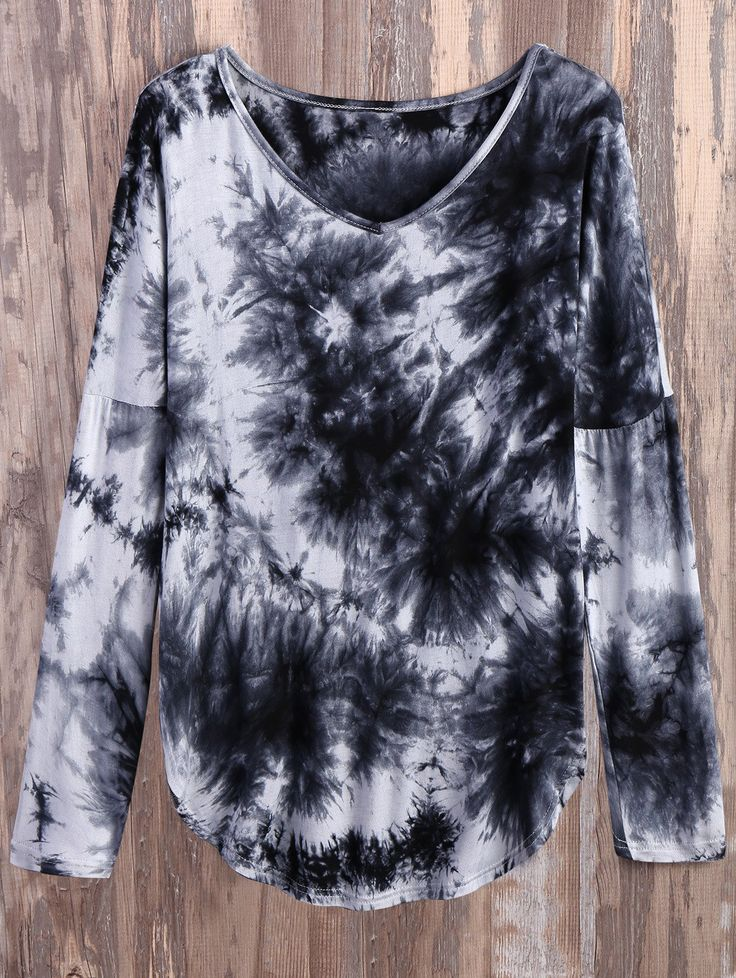 $20.49 V Neck Long Sleeve Tie Dyed Tee WHITE AND BLACK: Tees | ZAFUL