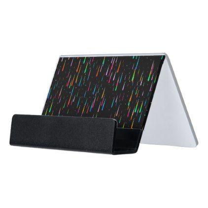 meteor rain desk business card holder - black gifts unique cool diy customize personalize