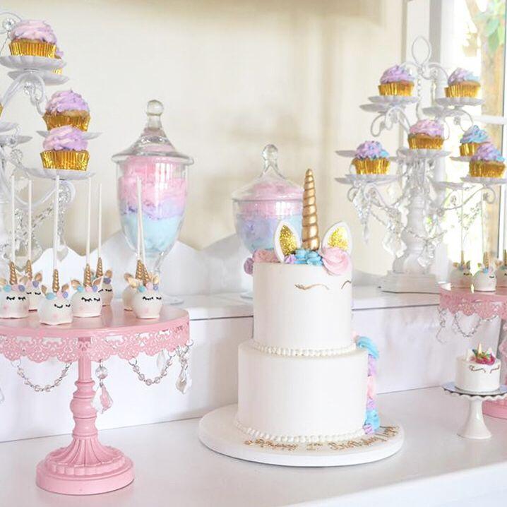 Unicorn Birthday Party Unicorn Desserts Unicorn Dessert Table Pink Cake Stand