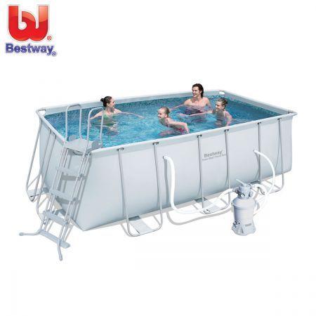 Bestway Above Ground Rectangular Swimming Pool w Steel Pro Frame & Sand Filter Pump 412 x 201 x 122cm