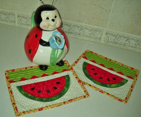 WATERMELON SLICES Quilted Summer Mug Rug Set Of Two By Pdqdesigns, $20.58