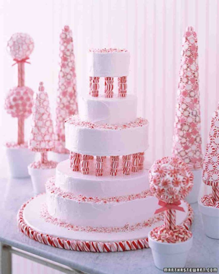 Cakes decorated with candies, cookies, and cupcakes.