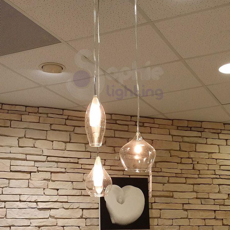 dettagli su lampadario lampada sospensione design moderno minimal acciaio cromato cucina