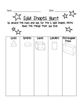 FREEBIE! Solid Shape Math Hunt and results graphing page