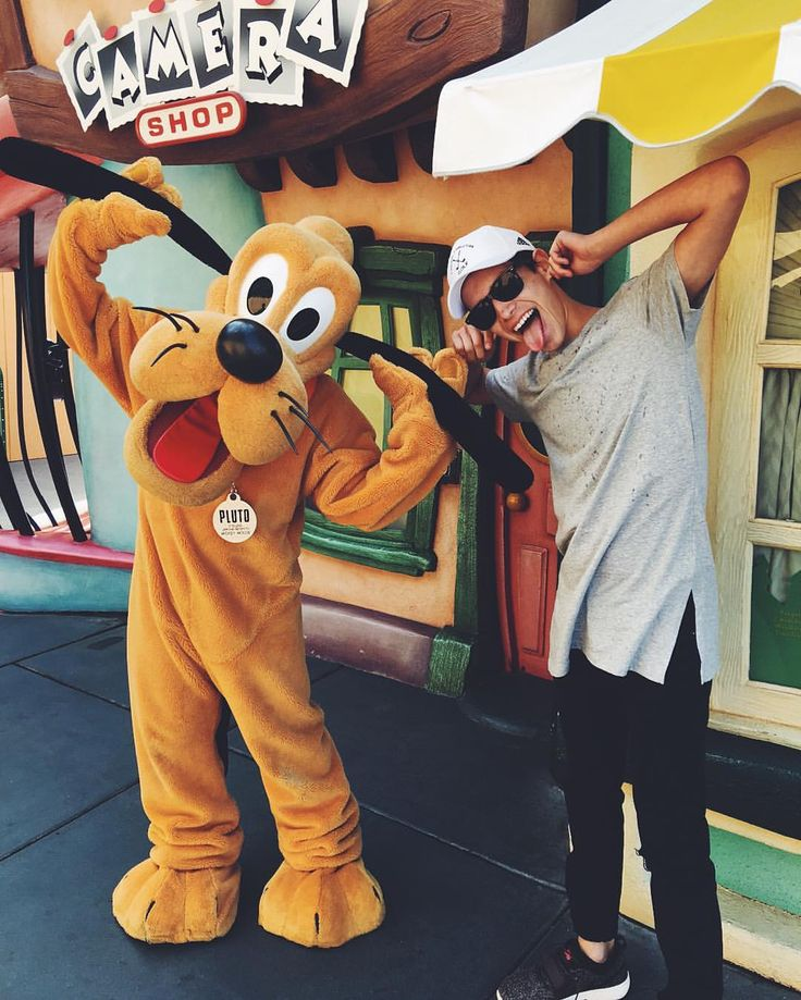Silly times with Pluto at Disneyland