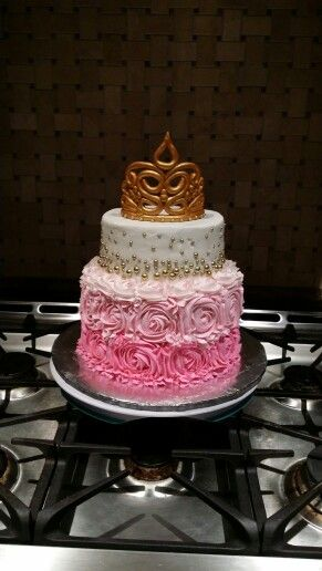 Pink and gold princess cake - For a Sleeping Beauty themed party! :)