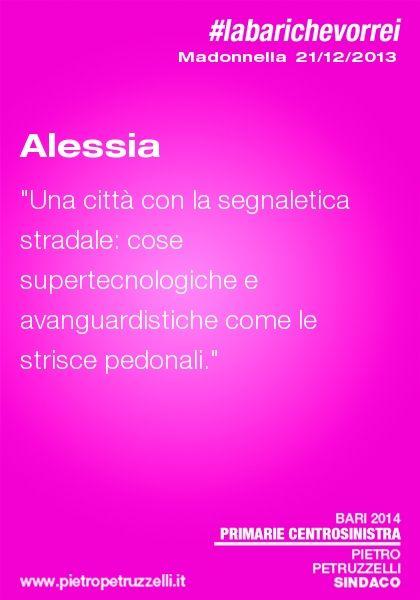 """Alessia: """"Una città con la segnaletica stradale: cose supertecnologiche e avanguardistiche tipo le strisce pedonali"""" #labarichevorrei"""