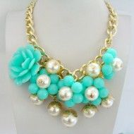 Necklace Blue Plastic Pearl & Metal