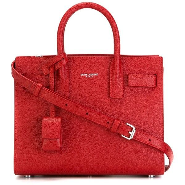Saint Laurent nano 'Sac de Jour' tote (£1,270) ❤ liked on Polyvore featuring bags, handbags, tote bags, red, handbags totes, tote handbags, genuine leather tote, genuine leather handbags and red purse