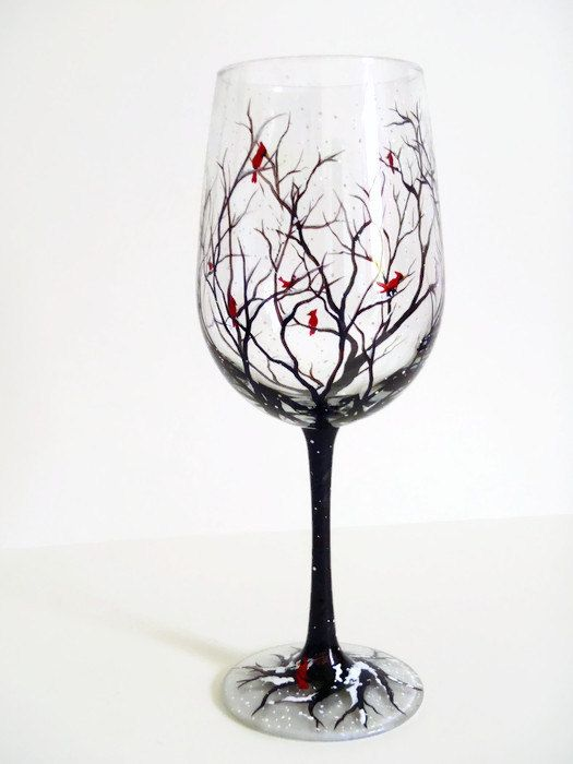 Cardinals on Snowy Tree Branches, Hand Painted Wine Glass, Winter Scene, Holiday Christmas Stemware