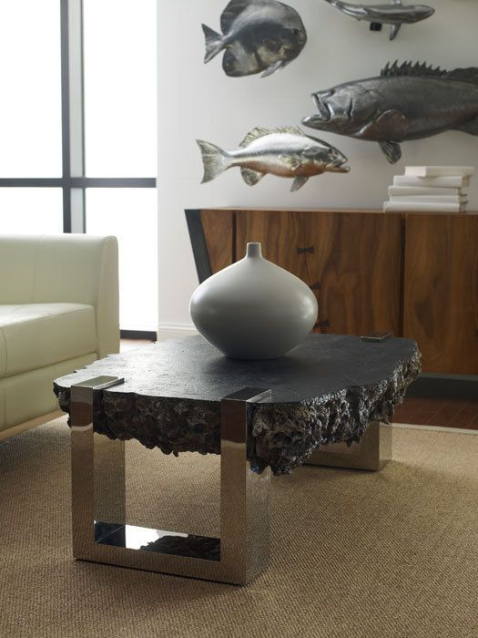 Unique Coffee Table Cast Volcanic Lava Pumice Stone Resin Stainless Steel Legs #Transitional