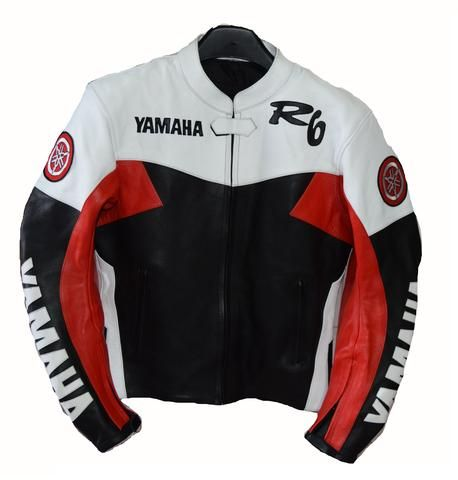 Red and white yamaha r6 motorycle jacket with armor protection