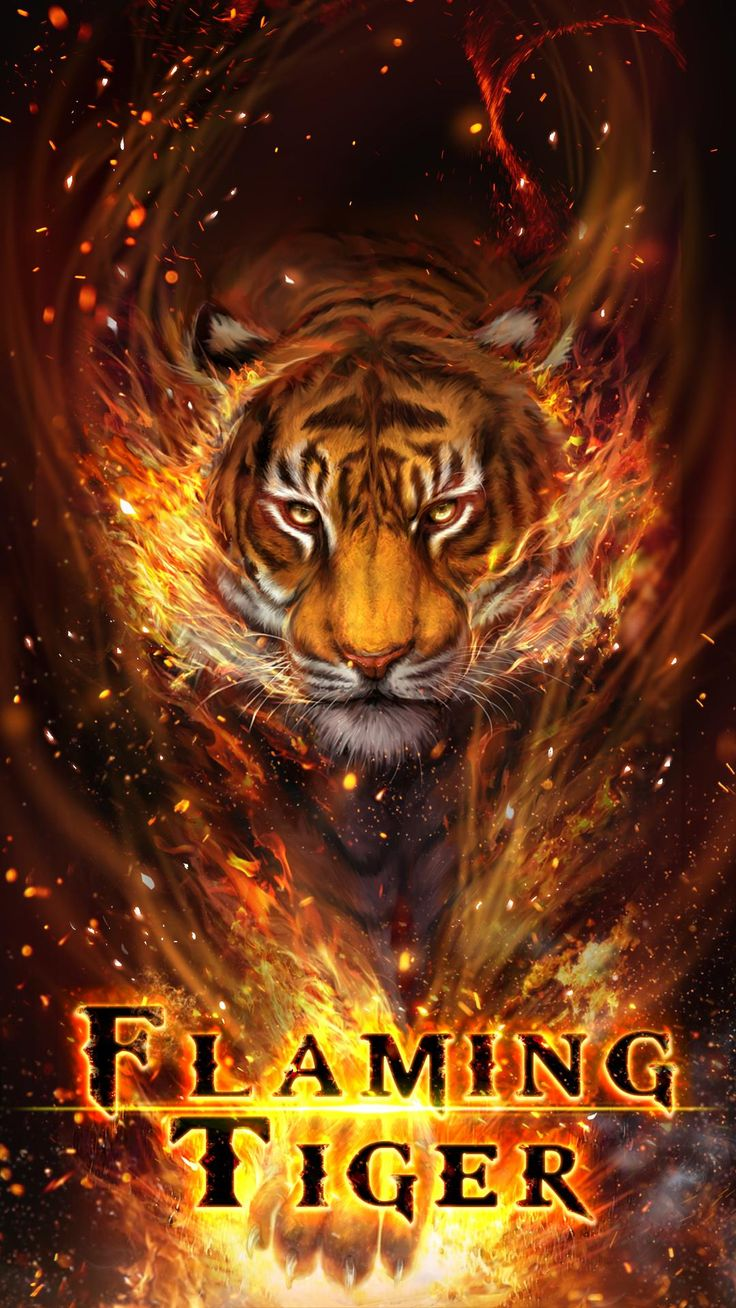 Cool fire tiger, flame tiger, flaming tiger live wallpaper