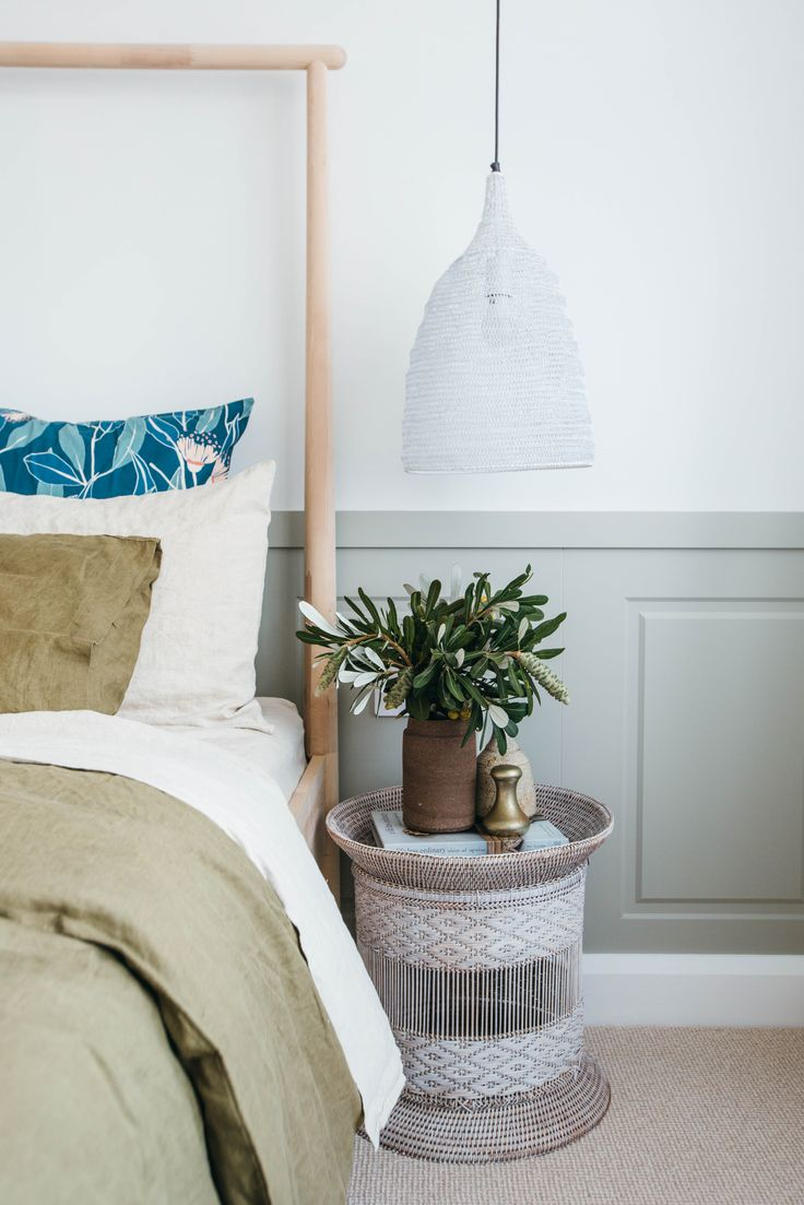 Hyraft Ravine Carpet in 'Oatmeal'-might be hard to keep clean. Love the styling on the bedside table