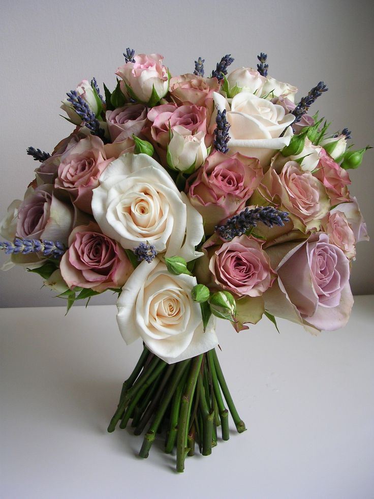 Vinatge look handtie of dusky pink , lilac roses with cream and lavander ' Amnesia ' roses , Old Dutch Roses