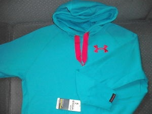 """UNDER ARMOUR HOODIE Pullover """"STORM"""" Water Resist Cotton Turq/Pink"""