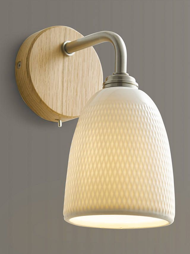 John Lewis Partners Fitcham Wood And Ceramic Wall Light White In 2020 Ceramic Wall Lights Wall Lights Wall Lamps Bedroom