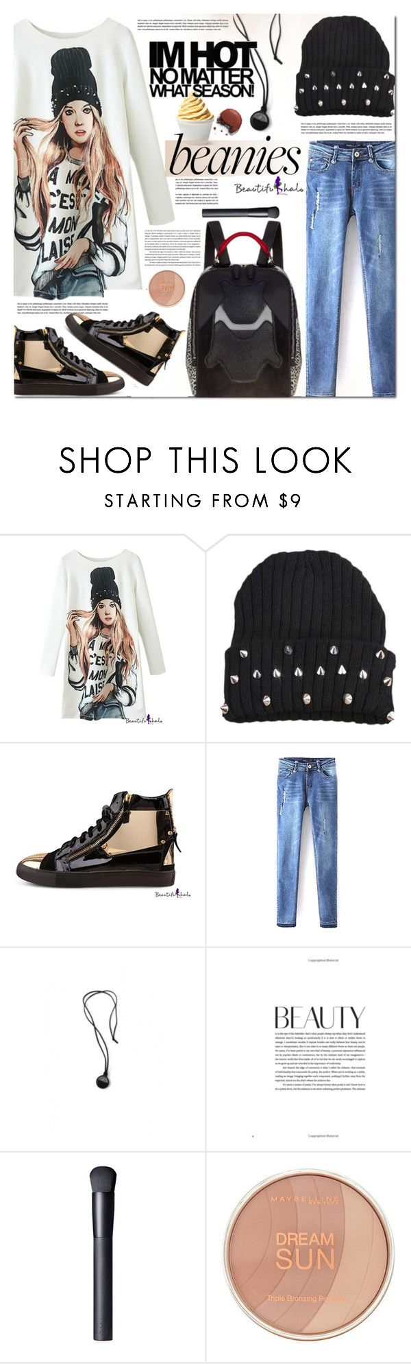 """""""Hat Head: Beanies beautifulhalo"""" by barbarela11 ❤ liked on Polyvore featuring Disney, NARS Cosmetics, Maybelline, beanies and bhalo"""
