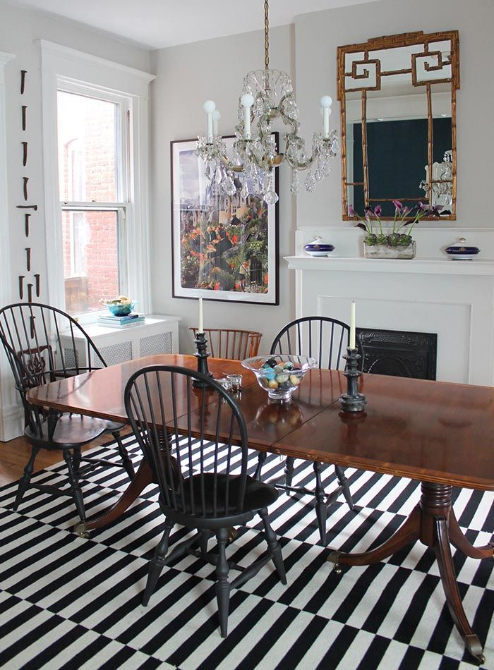 Love The Dramatic Mix Of Classics Glam And Pattern In Black White This Dining Room Heirlooms Thrifty Decorations Enrich A Century Old Victorian