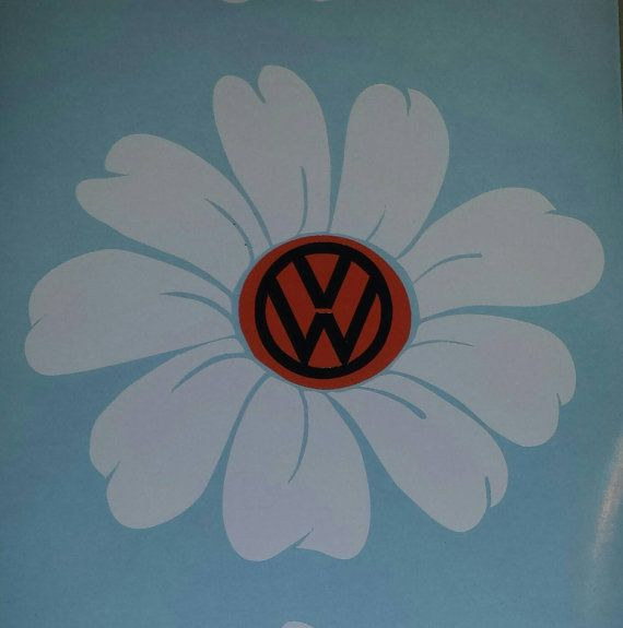 Daisy.. white with orange center black VW by MandTVinylGraphics